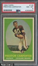 1958 Topps Football #128 Preston Carpenter Cleveland Browns PSA 8 NM-MT CENTERED