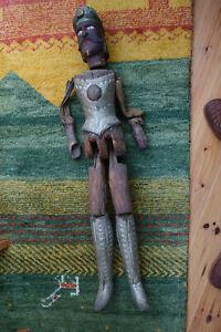 Uralte antike große Holzfigur Marionette Ritter