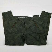 DKNY Ludlow Skinny Jeans Womens Size 12 Green Camo Stretch Denim Zippers Cargo