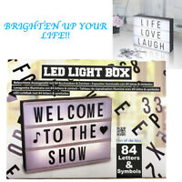 LED Cinematic Light Box Letters Symbols Message Board Decor Alphabet Sign Party