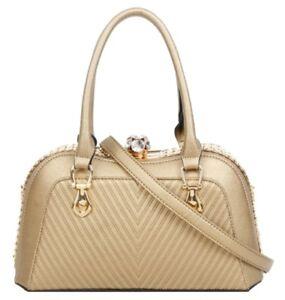 Vintage Fashion Embossed Gemstones Faux Leather Handbag Closure Shoulder Bag