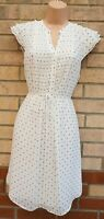 H&M WHITE BLACK HALF BUTTONED BELTED SHORT SLEEVE SHIFT A LINE TUNIC DRESS 12 M