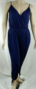 NEW City Chic Sexy Navy Soft Stretch Tie Ankle Jumpsuit Plus Size XS 14 #C1380