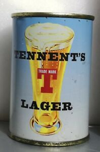 Rare Tennent's Lager Flat Top 9 2/3 fl oz, 1957-59 Empty Can, S/S, B/O