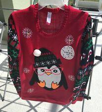 Ugly Christmas Light Up Sweater Women's Size Large 11-13 Penguin Theme Pullover