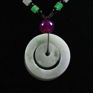"Certified Grade ""A "" Natural Green Jadeite Jade Pendant circle Ring Z3553"