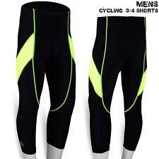 Mens Cycling 3/4 Shorts Lycra Skin Tights MTB Cycle Anti-Bac Coolmax Padded
