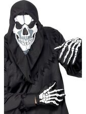 Adults Black Skeleton Bones Mask Gloves Halloween Fancy Dress Costume Outfit Kit