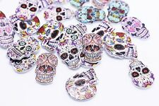 Hippie Skull Wooden Button Bohemian Punk Rock Wood Children Baby 24mm 20pcs