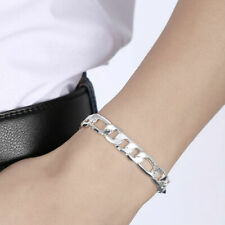 Mens Womens Sterling Silver plated 10mm Figaro Cuban Flat Link Chain Bracelet