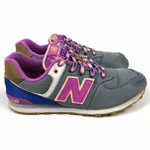 New Balance 574 Women's Sneakers Shoes Size 5 US Gray Purple Gum Sole Casual