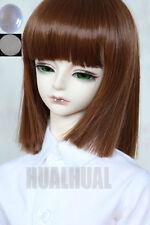 "1/4 7-8"" BJD Doll Pullip Wig Brown Straight Hair Short Luts DZ DOD SD +Cap #HUAL"