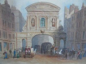 Temple Bar in 1878, Edwin Thomas Dolby W/colour 1884. Listed. London View