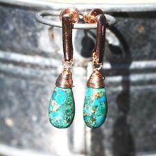 Natural Paraiba Copper Turquoise Earrings Rose Gold Filled , December Birthstone