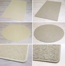 Teppich, 100% Wolle, Berber Schlinge, Creme Weiß und Grau, eckig u. rund