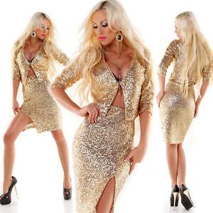 Completo donna 2 pezzi giacca gonna spacco paillettes oro tailleur coprispalle