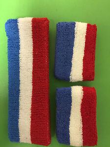 Cotton HeadBand WristBand Sweatband Set Red White Blue Stripe