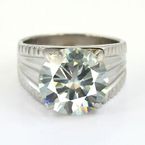 6.65 Ct Off White Diamond Solitaire Men's Ring, AAA Certified, Excellent Luster