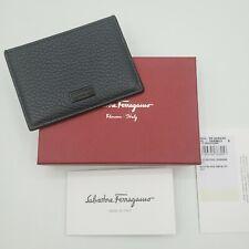 SALVATORE FERRAGAMO Firenze Leather Wallet Card Case Navy/Grey $260
