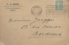 France 1919 Front Only With 15c Green From Paris To Bordeaux My Ref 485