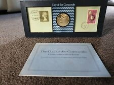 More details for 1976 day of the concorde hallmarked 1oz 22ct gold on silver medal john pinches