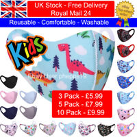 3/5/10 Pack Children Kids Face Mask Mouth Protection Cover Washable Reusable UK