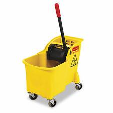 Rubbermaid Commercial Tandem 31qt Bucketwringer Combo Yellow 738000yel