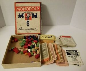 Vintage Monopoly Parts Wood Houses Hotels Cards and Money Era Year Unknown