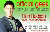 glee finn hudson - CORY MONTEITH  - plastic ID card Drivers License -