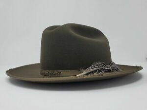 6X Beaver Felt Sage ROYAL DELUXE 1865 DISTRESSED Open Road With Hat BrushCleaner