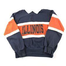 Vintage 80s University Of Illinois Collared Sweatshirt XL Chalk Line Distressed