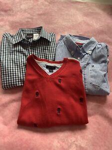 Lot Of 3 Tommy Hilfiger Boys Size 6 Navy/red Pullover V-Neck Sweater , Tommy