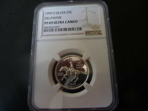 1999 s silver proof Delaware statehood quarter NGC PF 69 Ultra Cameo