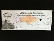 U.S: USED CHECK #RND1 1875 MINOT & CO BANKERS CONCORD NH NORTHERN NH RR