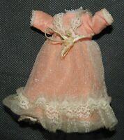 Vintage Handmade Doll Dress Peach White Lace Trim Bow 50s
