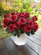 Artificial Fake Rose Silk Flowers 12 Heads Leaf Wedding Party Garden Decoration