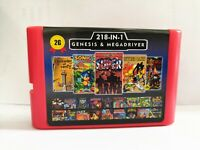 Super 218 in 1 Sega Genesis & Megadrive 16-Bit Game Cartridge save data Red Case