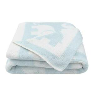 Living Textiles Cozy Chenille Pram Blanket 75 x 85cm Blue/White Elephant