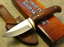 "Fixed Blade Skinner Knife 3 1/2"" Blade Pakkawood Handle Custom Leather Sheath"
