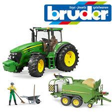 Bruder John Deere 7930 Tractor & empacadora envoltorio Cámara & Granjero Figura Niños Juguete