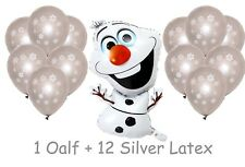 Frozen Large Olaf Snowman Foil + 12 Latex Snowflake Balloons Helium Quality