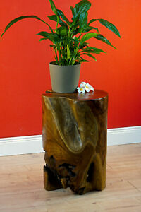 Side Table Teak Root Wood Tree Trunk Table Flower Stand Solid Wood round New