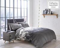 Catherine Lansfield City Scape Multi Grey Duvet Cover Bedding Set Wallpaper