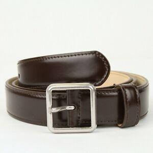 Balenciaga Men's Dark Brown Leather Belt w/Aged Silver Buckle 85/34 460333 2600