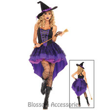 K108 Ladies Deluxe Purple Witch Gothic Halloween Fancy Dress Up Costume + Hat