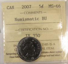 2007 Canada 5 Cent  Numismatic BU coin  ICCS grading MS-66