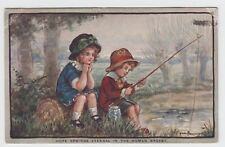 "POSTCARD - artist signed Ethel Parkinson ""Hope Springs Eternal"" children fishing"