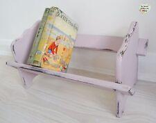 Vintage peint à la main lilas étagère, Petit en Bois Livre Rack, shabby chic