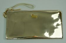 Ted Baker NEW Rozzine Leather Metallic Wristlet Pouch Bag Gold Cream BNWT