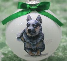 D042 Hand-made Christmas Ornament - Australian Cattle Dog Blue Heeler - laying